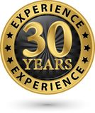 30 years experience gold label, vector. Illustration Stock Images