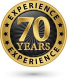 70 years experience gold label, vector illustration. 70 years experience gold label, vector Stock Images
