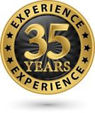 35 years experience gold label, vector illustration. 35 years experience gold label, vector Royalty Free Stock Photos
