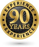 90 years experience gold label, vector. Illustration stock illustration