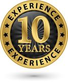 10 years experience gold label, vector. Illustration stock illustration