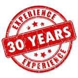 30 years experience rubber stamp. Vector illustration Royalty Free Stock Photos
