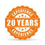 20 years experience vector icon. Isolated on white background Royalty Free Stock Image
