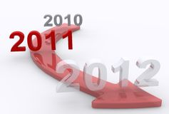 Years Forward. A 3D illustration on progressing years Royalty Free Stock Photo
