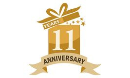 11 Years Gift Box Ribbon Anniversary Stock Images