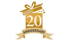 20 Years Gift Box Ribbon Anniversary Stock Images