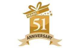 51 Years Gift Box Ribbon Anniversary Royalty Free Stock Images