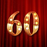 60 years gold anniversary. Celebration overlapping number logo, on the background of a red curtain stock illustration