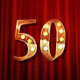 50 years gold anniversary celebration simple logo. On the background of a red curtain Royalty Free Illustration