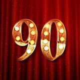 90 years gold anniversary. Celebration overlapping number logo, on the background of a red curtain royalty free illustration