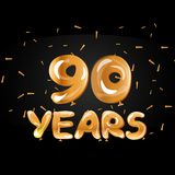 90 years golden anniversary celebration logo. Vector illustration Royalty Free Illustration