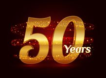 50 years golden anniversary 3d logo celebration with glittering spiral star dust trail sparkling particles. Fifty years anniversar. Y modern design elements stock illustration