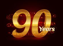 90 years golden anniversary 3d logo celebration with glittering spiral star dust trail sparkling particles. Ninety years anniversa. Ry modern design elements stock illustration