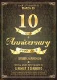 10 years golden anniversary logo celebration vector illustration