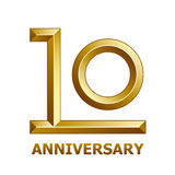10 years golden anniversary symbol. Illustration for the web Royalty Free Stock Image