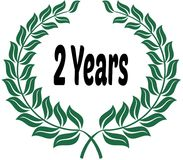 2 YEARS on green laurels sticker label. Illustration image Royalty Free Stock Photography