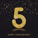 90 years Happy anniversary banner with gold elements. Vector illustration stock illustration