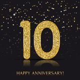 10 years Happy anniversary banner with gold elements. Vector illustration Royalty Free Stock Images