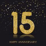 15 years Happy anniversary banner with gold elements. Vector illustration Vector Illustration