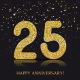 25 years Happy anniversary banner with gold elements. Vector illustration Royalty Free Stock Photo