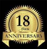 18 years happy anniversary gold seal vector design. Icon concept Stock Photo