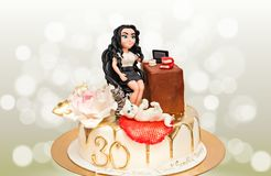 30 Years Happy Birthday Cake Personalized. Sugar paste figurine. Gold dripping. Happy birthday cake or tart with gold number 30 very colorful and looking very royalty free stock photography