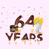 64 Years Happy Birthday card. Vector illustration royalty free illustration