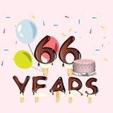 66 years Happy Birthday card. Vector illustration Stock Photo