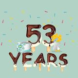 53 years Happy Birthday card Stock Photography