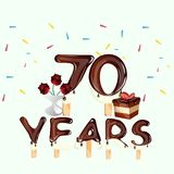 70 years Happy Birthday card. Vector illustration royalty free illustration