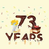 73 Years Happy Birthday card. Vector illustration Royalty Free Stock Photos