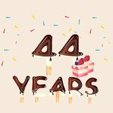 44 years Happy Birthday card Royalty Free Stock Images