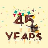 45 Years Happy Birthday card. Vector illustration Royalty Free Illustration