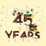 45 Years Happy Birthday card. Vector illustration Stock Photos