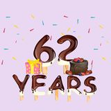 62 years Happy Birthday card. Vector illustration Royalty Free Stock Photography