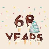 68 years Happy Birthday card. Vector illustration Vector Illustration