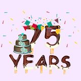 75 years Happy Birthday card. Vector illustration Stock Photos