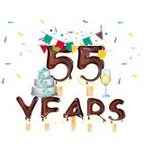 55 years Happy Birthday card. Vector illustration Stock Photography