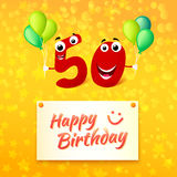 50 years Happy Birthday colorful greeting card. Fifty Birthday festive greeting card with typography. Cartoon illustration for 50 years anniversary with number Royalty Free Stock Image