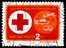 100 years of Hungarian Red Cross, Red Cross serie, circa 1981. MOSCOW, RUSSIA - FEBRUARY 20, 2019: A stamp printed in Hungary shows 100 years of Hungarian Red stock photo