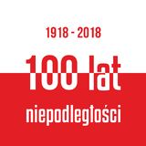 100 years of independence of Poland Red white flag with inscript. Ion Stock Photo