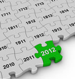 Years jigsaw puzzle. 3d annual jigsaw pieces 2012 Stock Illustration