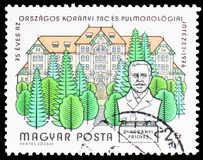 75 years of Koranyi Sanitarium, Buildings serie, circa 1976. MOSCOW, RUSSIA - FEBRUARY 10, 2019: A stamp printed in Hungary devoted to 75 years of Koranyi stock photography