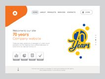 70 years Landing page website template design. Quality One Page 70 years Website Template Vector Eps, Modern Web Design with flat UI elements and landscape Royalty Free Stock Photo