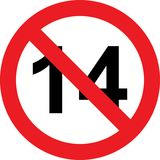 14 years limitation sign. On white background Royalty Free Stock Photo