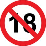 18 years limitation sign. On white background Stock Images