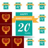 20 years multicolored icon . Set of anniversary illustration icons. Signs, symbols can be used for web, logo, mobile app, UI, UX