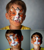 Years old boy with blue eyes face painting of a cat or tiger. Orange. Collage Stock Image