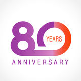 80 years old celebrating classic logo. 80 years old celebrating logotype. Colored happy anniversary 80 th template numbers. Greetings celebrates. Traditional Royalty Free Stock Photography