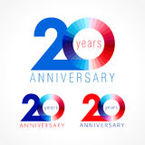 20 years old celebrating colored logo. Anniversary numbers 20 th. Shining congratulating logotype. Greetings celebrates set red, blue, white colors. Stained Royalty Free Stock Images